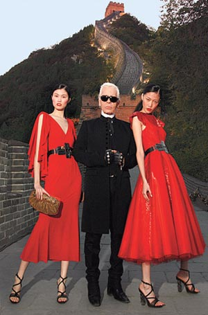 Karl Lagerfeld for Fendi with Models at the Great Wall of China