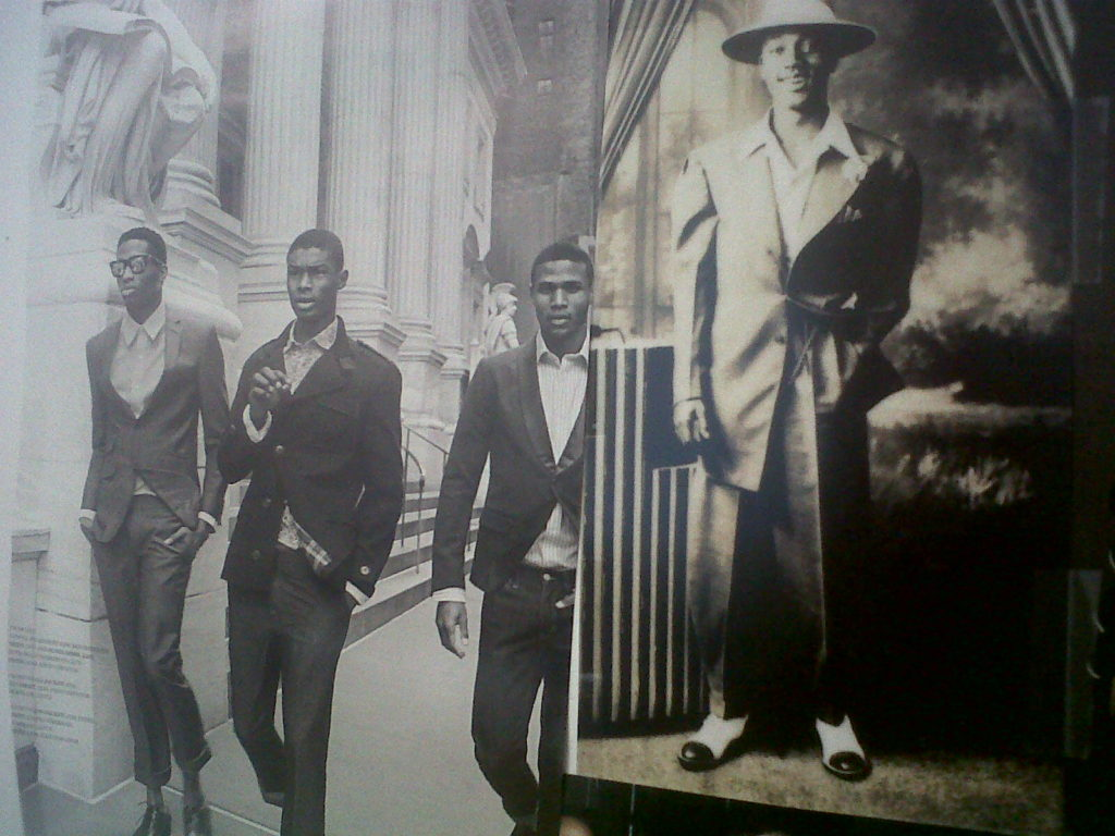 Men's fashion editorial in Arise Magazine (left) and A Man in a Zoot Suit from the Way We Wore: Black Style (Right) Then