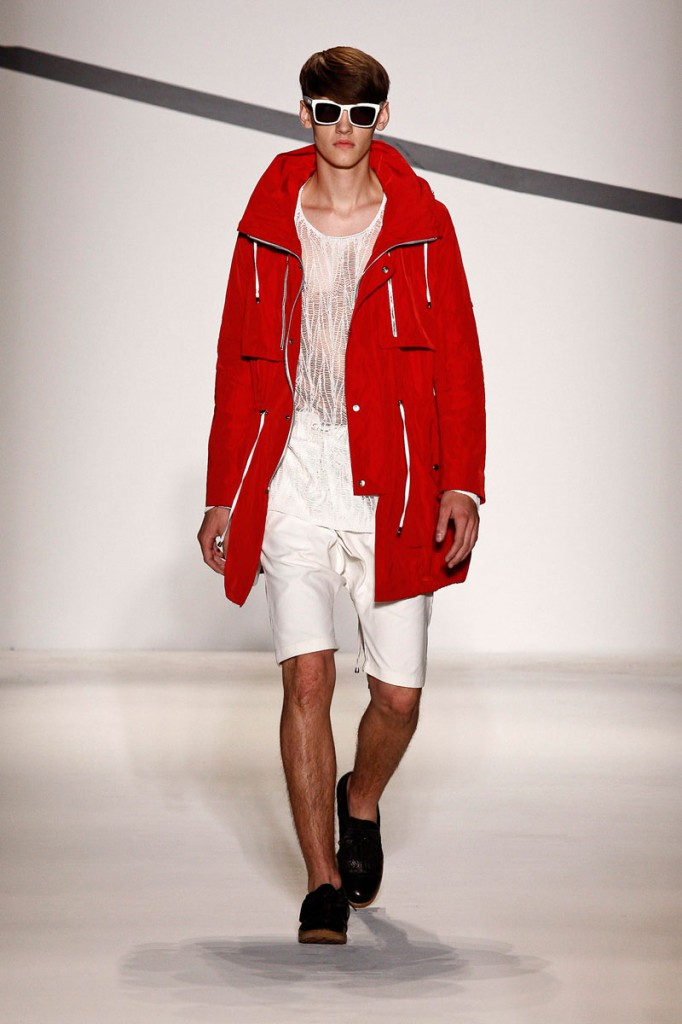 Red Coat, White See-Through Top, White Shorts General Idea Spring/Summer 2011