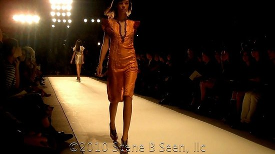 Orange dress with red strong shoulder