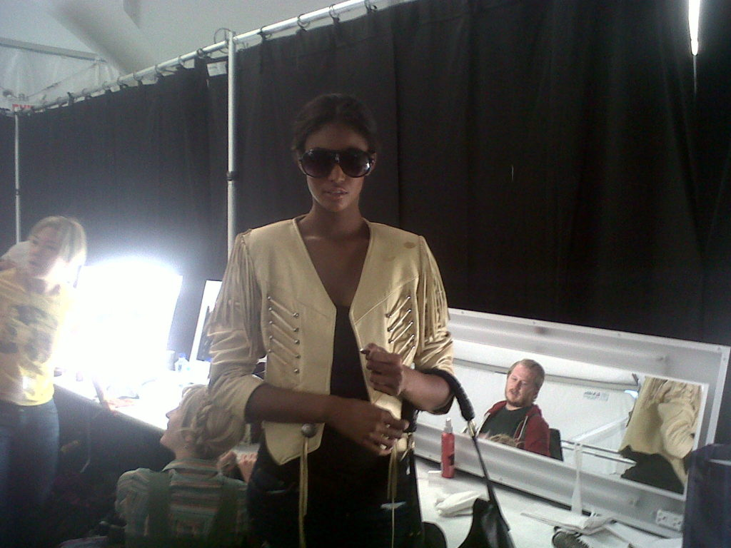 Sessilee Lopex backstage at Gottex Spring/Summer 2011