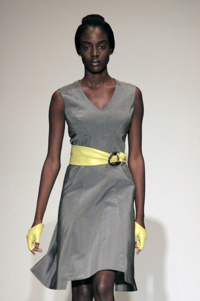 Grey Dress with Yellow Belt and Gloves Rubin Singer Spring/Summer 2011