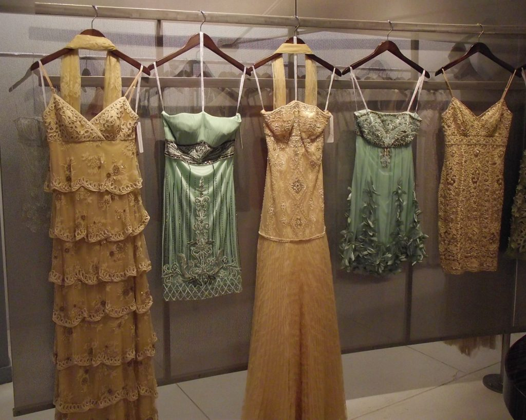 Sue Wong S/S 2011 Gold & Green Dresses