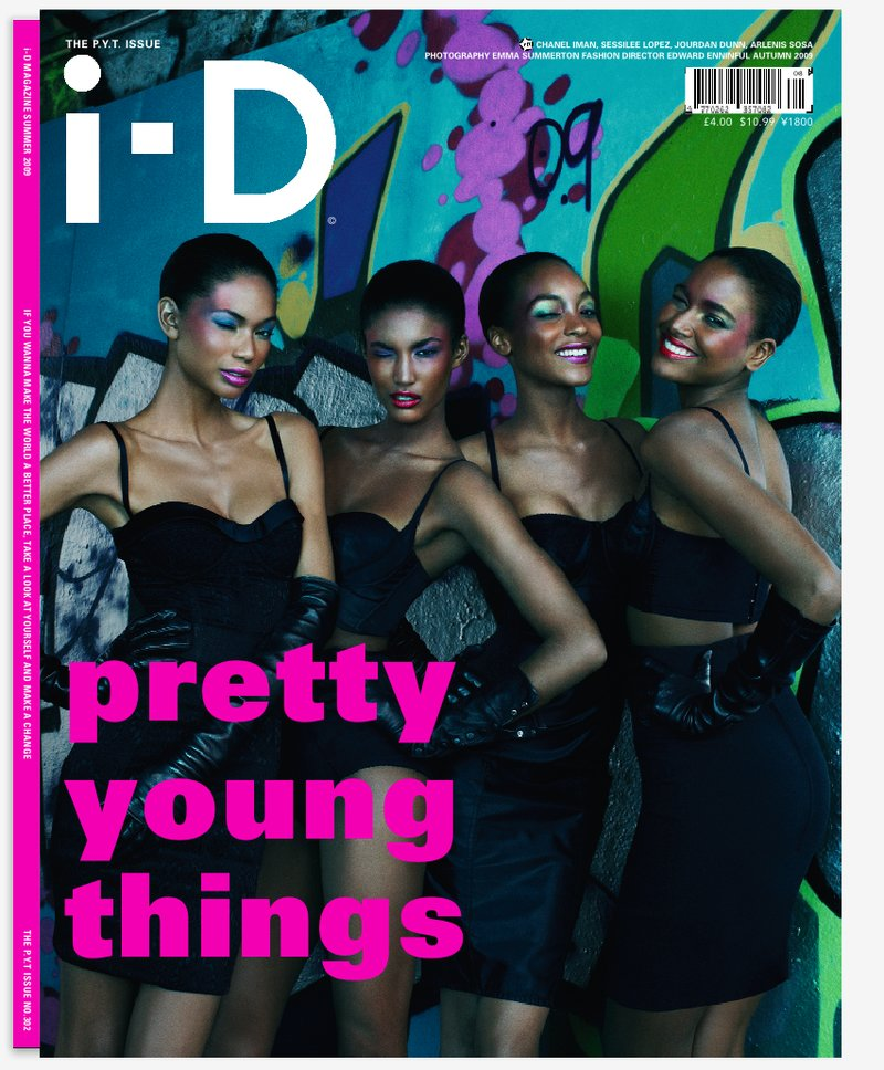 Chanel Iman with Sessilee Lopez, Jourdan Dunn, and Arlenis Sosa on the cover of i-D Magazine
