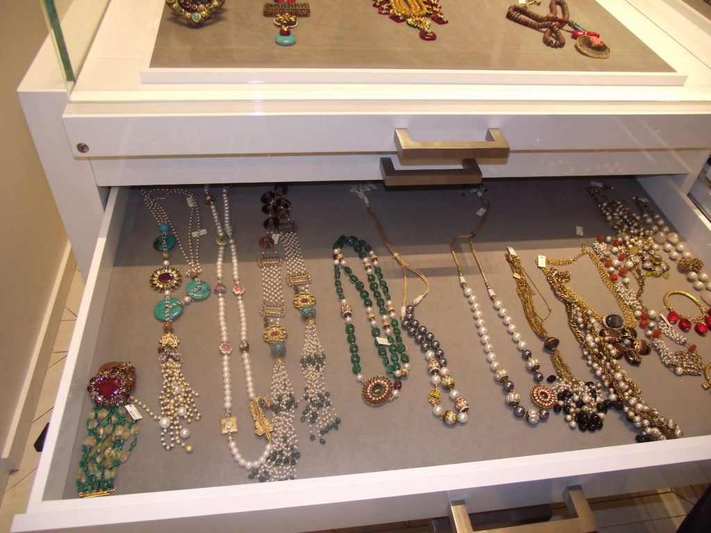 Jewelry inside the Soigne K Boutique