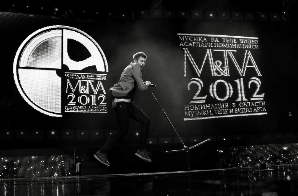 Ivan Dorn performing at the M&TVA Awards in Tashkent, Uzbekistan (Central Asia)