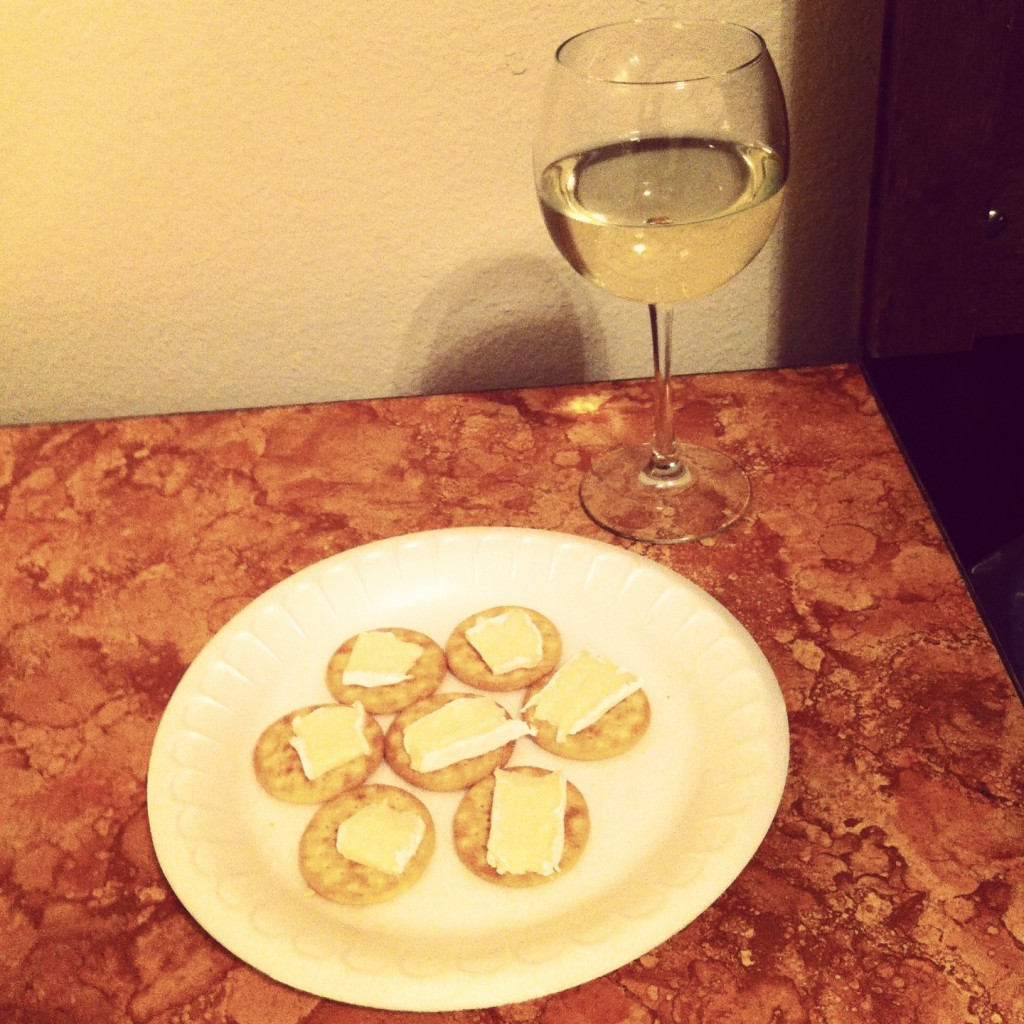 Sweet & Sassy Moscato by Middle Sister Wine with brie and crackers