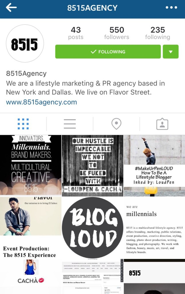 My agency, 8515's Instagram account (Managed by Cacha & Pen)
