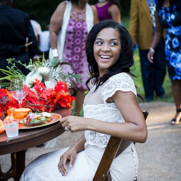 Renee Jones looking absolutely fabulous on her wedding day